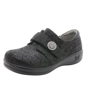 Alegria Finley Black Floral Printed Work Shoes